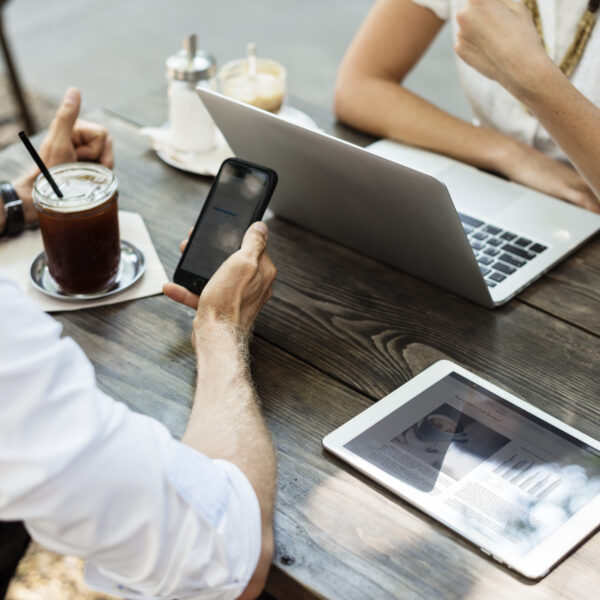business people hangout together at coffee shop